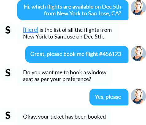 Check flights and book tickets via chat